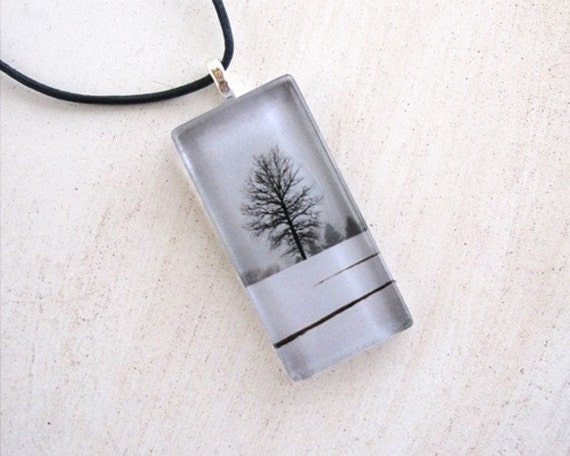 Lone tree in winter glass tile pendant... solitary silhouette tree in snow necklace