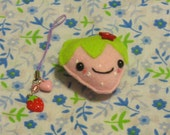SALE  Strawberry plush magnet and strawberry charm gift pack
