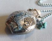 butterfly raku bottle necklace, blue. Whispered Memories by starzyia