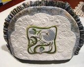 Quilted Tea Cozy - w\/Madera Applique - Machine embroidery Floral design