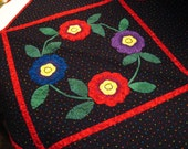 Quilted Table Topper or Wall Hanging w\/Machine Applique
