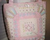 Large Tote  Market Bag-Shoulderbag-Pink Cottage Style Machine Embroidery