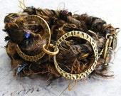 Chocolate and Brass Double Ring Sari Silk Wrap Bracelet