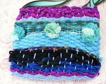 Little Girl Purse, Small Shoulder Bag, Colorful Boho Bag, Woven Yarn Bag, Pom Pom Bag, Girl Gift, Handmade Purse, Sari Silk, Colorful Purse