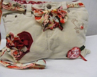 Purse, Messenger Bag, Upcycled Jean Cross Body Messenger Bag, Red Bag, Cream Corduroy Bag, Long Strap, Satchel, Appliqued Red Tote, Heart