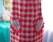 Retro Vintage Inspired Red Strawberry Plaid and Ric Rac Cobbler Apron