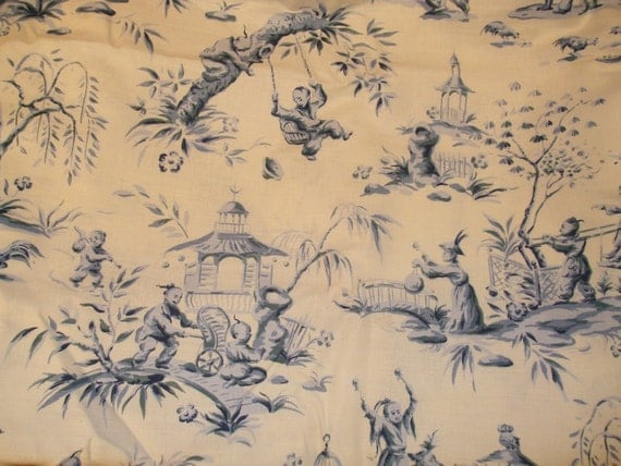 Oriental Toile' - Blue & Creme - Cotton / Linen Blend Drapery Fabric