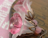 Soft Pink Flower Earrings with Oxidized Copper