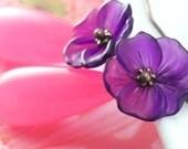Purple Flower Earrings with Candy Pink Jade Gemstones
