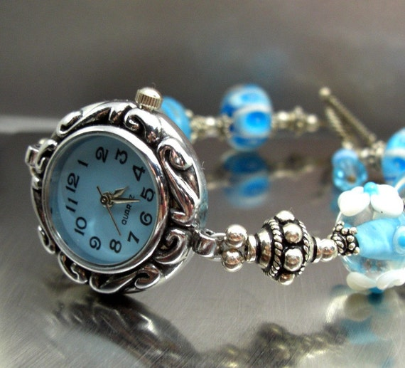 Sky Blue Sterling Silver Bracelet Watch