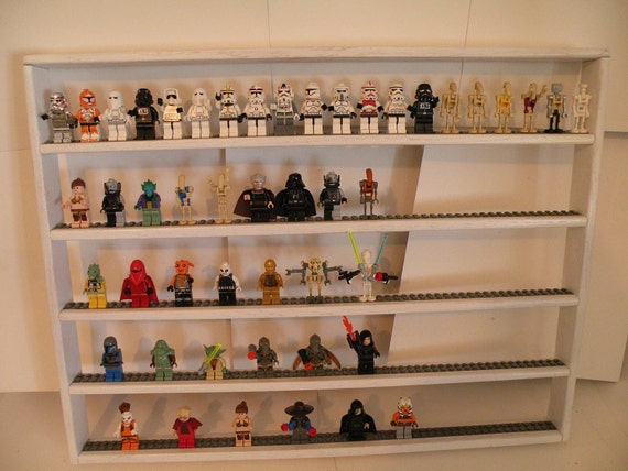 Handcrafted Solid Oak Painted White Lego Minifigure up to a 100 Figure Display Shelf w/Black 2X Plate