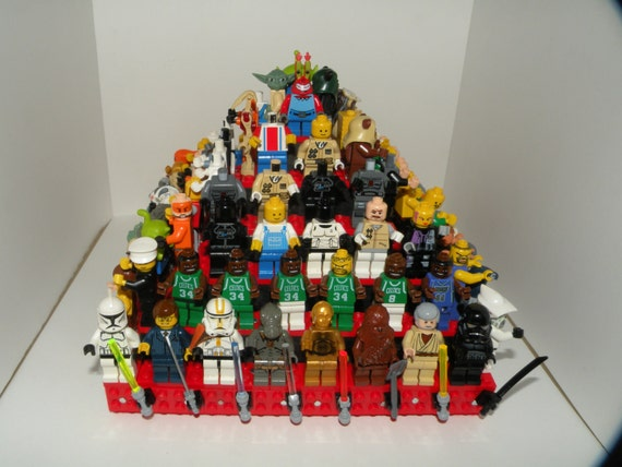Handcrafted Wooden Star Wars Lego Minifigure Pyramid Display Shelf - Gloss Black with Red  2X Lego plates and 10 weapon clips
