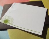 Dandelion Breeze - Personalized Note Card and Gift Tag set in 6 Colors (set of 12)