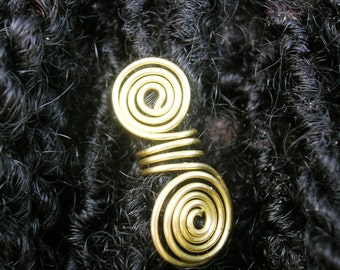 One Pair (2) Jewelry for Locks - Sisterlocks, Dreadlocks, Rasta, Twists - Brass