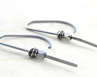Sterling Silver Earrings Simple Leave In All The Time Earrings Handmade Jewelry Wild Prairie Silver