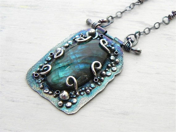 RESERVED Labradorite Necklace One of a Kind Jewelry Wild Prairie Silver