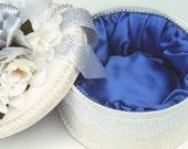 Wedding Keepsake Style Round Hat Box White with Royal Blue Satin Lining  CLOSE OUT