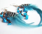 FREE SHIPPING - Turquoise feathers crocheted earrings - blue glass beads, turquoise colored limestone