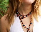 Crocheted lariat necklace / bracelet - brown and blue - oht rusteam - Free worldwide shipping