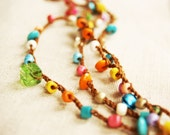 LAST ITEM - Summer bells - versatile crocheted necklace / bracelet - rainbow color beads and tiny bells - Free Worldwide Shipping
