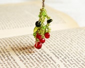 Crocheted berries earrings - glass beads earrings  - FREE SHIPPING