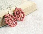 Vintage pink lace earrings - upcycled crocheted earrings - oht - snowflakes earrings - FREE SHIPPING