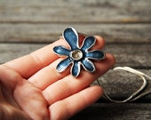 Blue flower vintage necklace  -  very 80s, beginning of 90s  vintage necklace- oht rusteam europeanstreetteam - Free Worlwide Shipping
