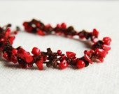 Cherry and chocolate - Long necklace / bracelet - versatile crocheted necklace / bracelet  - ohtteam rusteamfree worldwide shipping