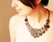 Vintage black metal lace necklace - statement necklace  - Free Worlwide Shipping