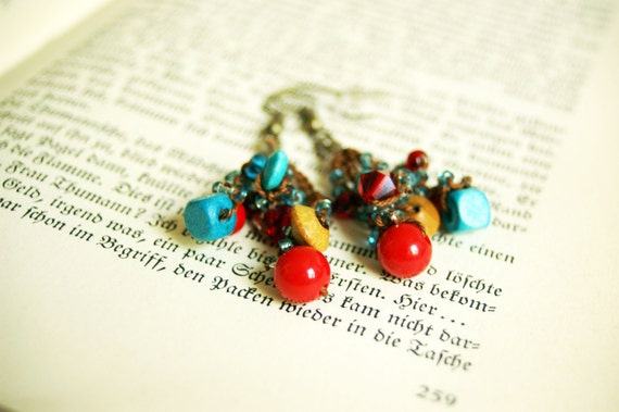 Bold Summer - crocheted earrings - red, turquoise and brown- Free Worldwide Shipping