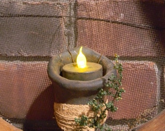 Primitive Blackened Beeswax Cone Tea Light  #525