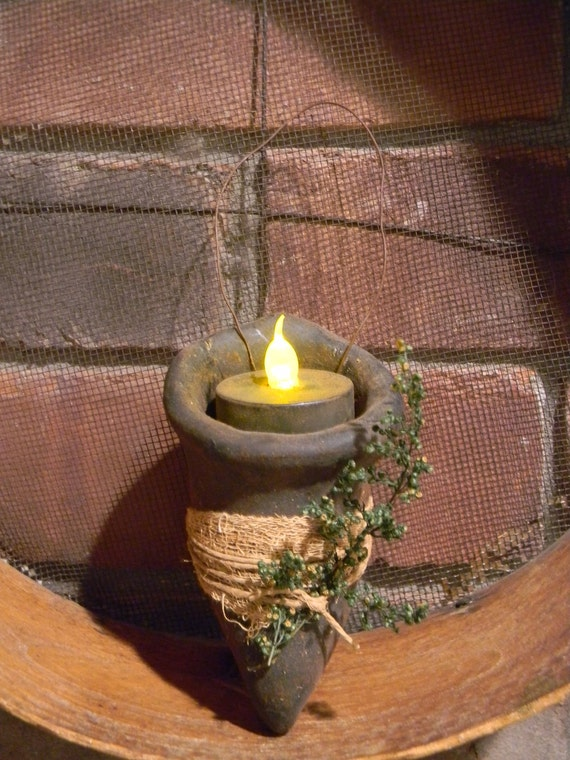 Primitive Blackened Beeswax Cone Tea Light  #525