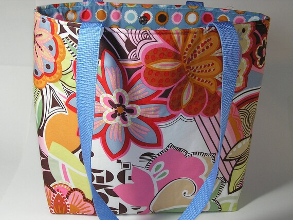 Colorful Mod Flowers Project Tote
