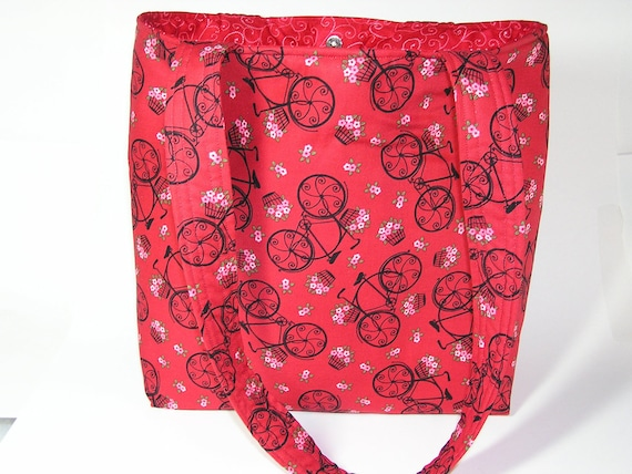 Red Velo Fleurs Project Tote with Self Fabric Straps