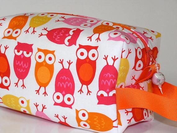 Pink Owls Mini Bag with Owl Bead