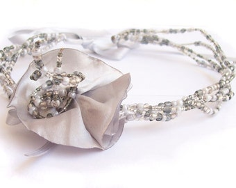 Statement Necklace in tones of grey with satin brooch