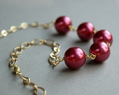 Raspberry Glass Bead Necklace, Glass Pearls - Gold Chain