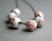 Japanese White Bead Necklace, Porcelain, Gunmetal - Flowers