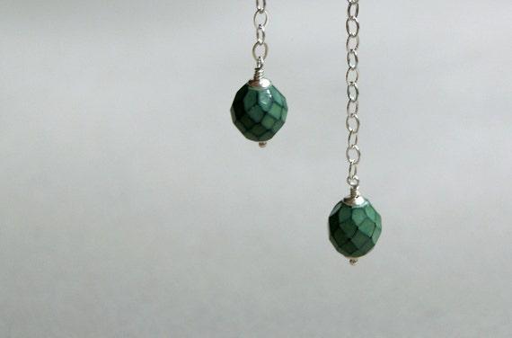 Long Turquoise Green Bead Earrings, Czech Glass - Sterling Posts