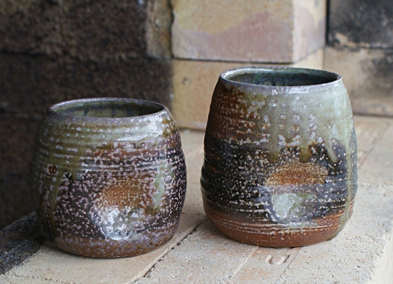 Wood fueled soda fired cup set 2 (C28)