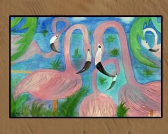 Flamingo Party Indoor - Outdoor Floor Mat available in 3 sizes