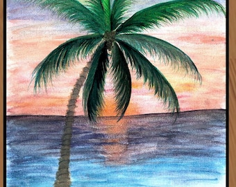 Sunset Palm Tree  Vertical 20 ounce loop,available in 4 sizes