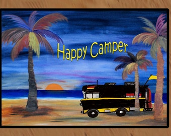 Happy Camper....Camper/RV available in 3 sizes  indoor-outdoor floor mat