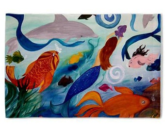 Tropical Fish and Mermaid Pillow Case from my original art
