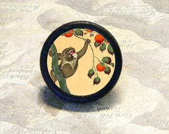 MONKEY picking PERSIMMONS Tie Tack or Ring