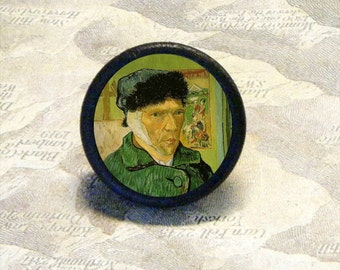 VAN GOGH - off with his ear - as Tie Tack or Pin or adjustable ring