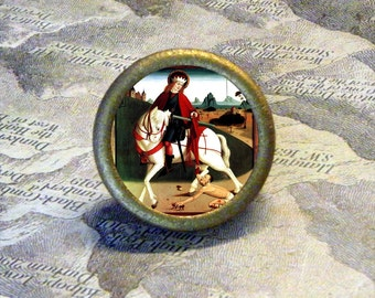 Saint Martin of Tours on horse Tie Tack or Ring