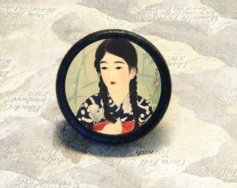 Young GEISHA with BRAIDS TIE TACK - PIN or ring