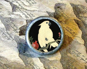 White JAPANESE PARROT - Shoson Art in Black - as TIE TACK - PIN or adjustable ring