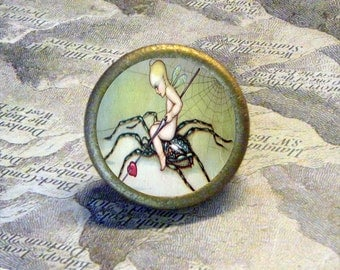 SPIDER FAIRY - Love on a Skewer - TIE tack or pin or adjustable ring